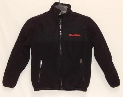 NAUTICA Kids Boys Black Spell Out Logo Full Zip Fleece Jacket Size Small (8)