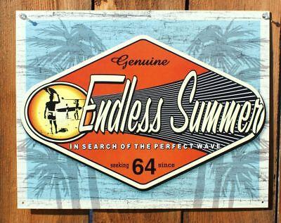- Tin Metal Sign Endless Summer Wave Ocean Beach Surf Tan