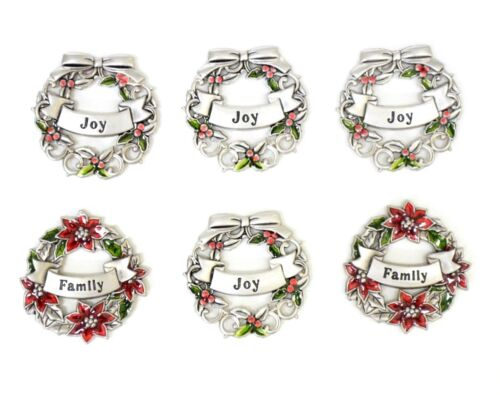 Ganz Wreath Charms Lot of 6 Family Joy Engraved Metal Red Green Collectible Gift