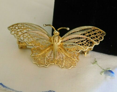 Vintage Filigree Butterfly Brooch Silver 800 and Gold Vermeil Signed