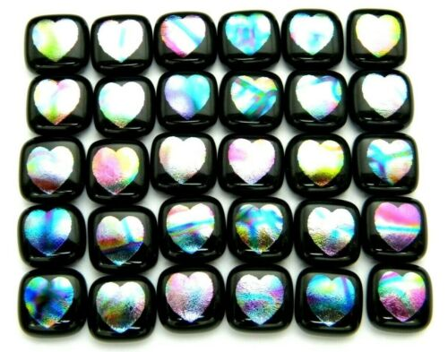 HEARTS ETCHED Lot 30 pcs DICHROIC FUSED GLASS earrings (i19) CAB HAND MADE
