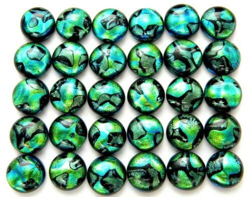 Lot 30 pcs round gorgeous DICHROIC earrings bracelet FUSED GLASS (BG19) CABOCHON