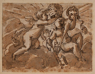 Domenico Piola ? - Putten mit Papstinsignien - vier Tuschezeichnung - 17. Jh.