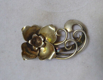 Lot of 3 small old antique SWEDISH early 1900s handmade brass brooches with lovely flower leafe motives