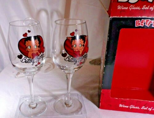 Boop Oop-A Doop, Betty Boop Wine Glass,set of 2 Fun, Smile inside and out, #7139