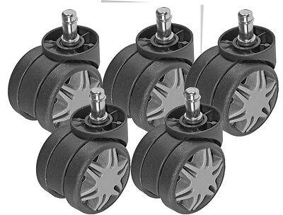 Heavy Duty Chair Caster Twin Wheel 2.38 60mm Diameter Black W Gray Spokes 5pc