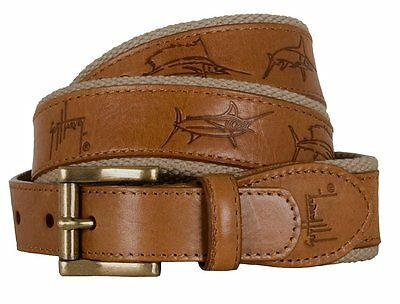Grand Slam Belt (Guy Harvey Grand Slam Leather Belt Khaki Trim- Pick Size-Free Ship )
