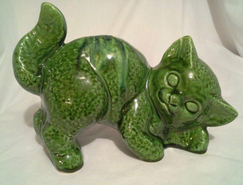Vintage Green Cat Piggy Bank 3302