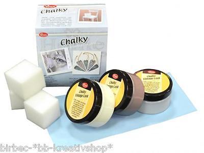 CHALKY Farbe Kreideoptik 3 x 90 ml VIVA DECOR Kreativ Set Vintage CLASSIC 538