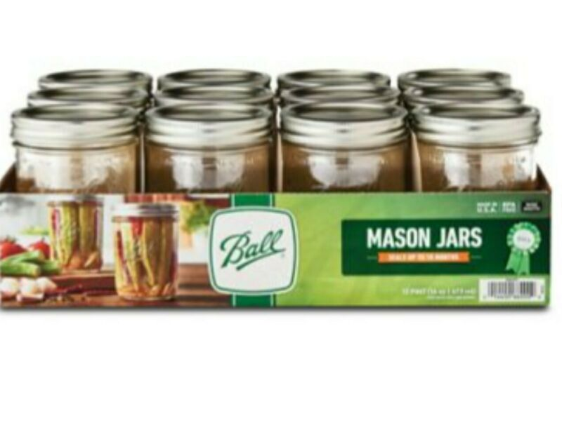 Ball Wide Mouth Canning Mason Jars, Clear Glass Jar, 16Oz Pack Of 12 NEW