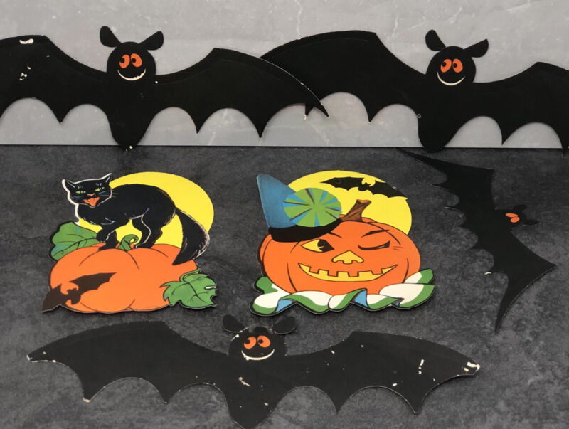 6 RARE Vintage Halloween Diecut Decorations Black Cat Jack O'lantern Flying Bats