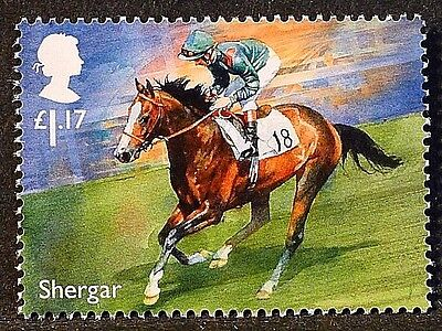 """Racehorse Legend """"Shergar"""" illustrated on 2017 stamp - Unmounted mint"""