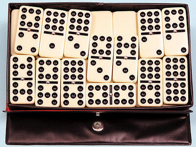 Plastic Double Nine Dominoes - Black Spots - Spinners - Ref: 00122