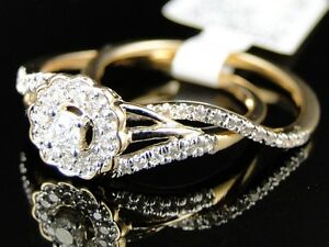 Yellow-Gold-Ladies-Round-Cut-Diamond-Engagement-Wedding-Bridal-Ring-Set-1-4-Ct
