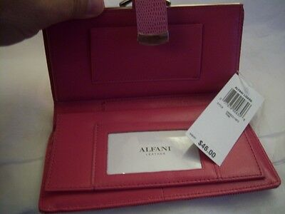 Ladies Alfani Genuine Leather Checkbook Wallet Pink