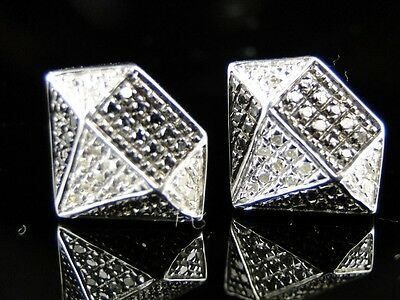 Mens Diamond Shape White Finish Black/white Diamond 13 Mm Studs Earrings on sale