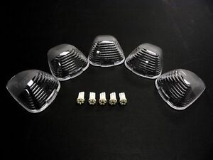 99-11 FORD F250 F350 PICK UP TRUCK 5 PC LED CLEAR CAB ROOF LIGHTS COVERS KIT