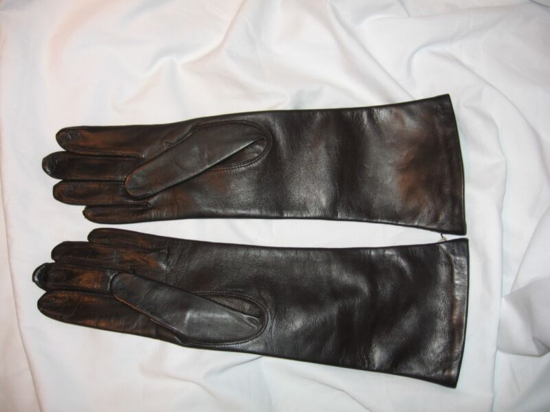 Vintage Fownes Dark Brown Soft Leather Gloves, Silk Lined, New Never Worn