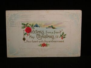 Antique-POSTCARD-c1914-Greetings-froma-Friend-Christmas-Embossed-X92