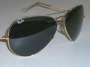 62mm-VINTAGE-B-L-RAY-BAN-L2846-LARGE-LENS-G15-GOLD-PLATED-AVIATOR-SUNGLASSES
