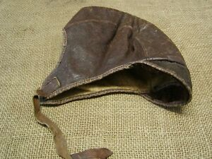 Vintage-WWI-Leather-Flight-Helmet-Antique-Military-Gear-Aviation-Cap-6500
