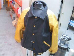 Game-Sportswear-Varsity-Letterman-Jacket-Black-Gold-XS-Xtra-Small-NEW-Letter