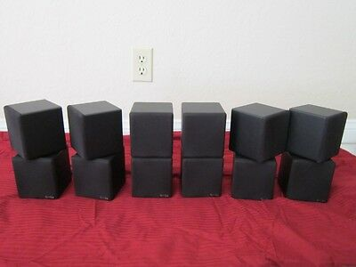 (6) Dual Cube Speakers.home Theater Rear Black Surround Sound System Set.lot