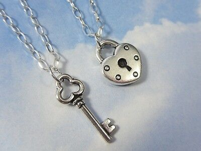 Key To My Heart Silver Couples Necklace Set- 2 Necklaces, Sterling Silver Chains