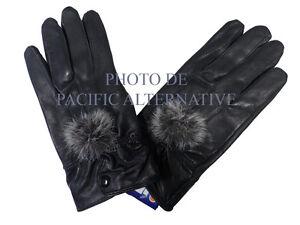 1 paire de Gants noir en cuir pour FEMME fille taille S hiver pompon gloves NEUF