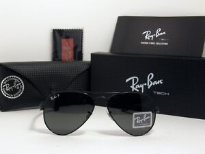 New Authentic Ray Ban Carbon Fibre Polarized Sunglasses RB 8307 002/N5 RB8307