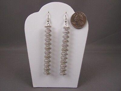Silver Earrings Spiral Spring 3.5 Long Dangle Earrings