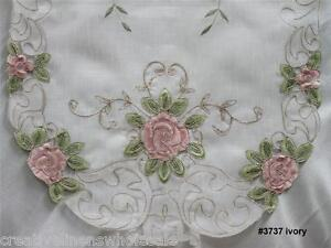 Spring-Embroidered-Pink-Rose-Floral-Sheer-Placemat-Table-Runner-Tablecloth-3737