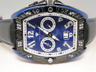 New Mens Aqua Master Joe Rodeo Swiss Blue Metal Diamond Watch  50 Ct