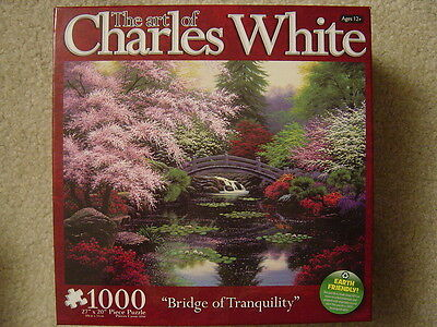 Charles White BRIDGE OF TRANQUILITY 1000 piece jigsaw puzzle NEW Flower garden on Rummage