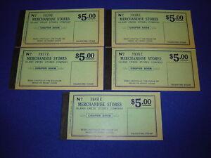 lot of 5 $5.00 Island Creek Company Store coal mine scrip coupons uncirculated