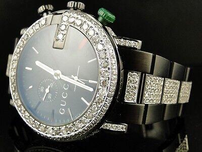 26077b9a683 New Custom Mens Diamond Gucci Ya101331 Watch 9 Ct Sides And Band