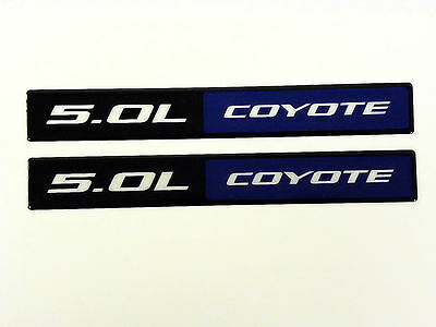 QTY 2 FORD MUSTANG GT 5.0L COYOTE ENGINE BLACK BLUE ALUMINUM EMBLEMS BADGE PAIR