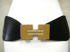 SHINY-POLYGON-SHAPED-BUCKLE-W-STONES-ON-A-BLACK-LADIES-STRETCH-BELT-34-45