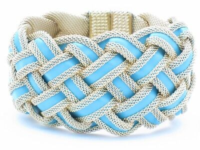 18kt Gold Plated Unique Turquoise Leather Wide Soft Mesh Weave Cuff Bracelet