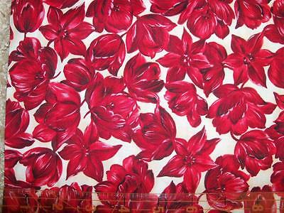 Kings Road Dutch Treat Bright Red Hat Hawaiin Luau Floral Rose Quilt Fabric 5a