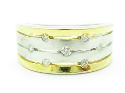 Solid 14k Yellow Gold Genuine White Diamond Two Tone Wide Design Band Ring