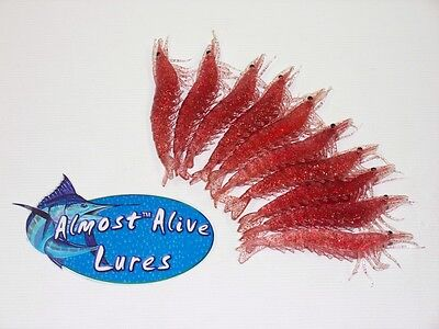 Top Selling 10 Unrigged Soft Plastic Shrimp Bait Lures Tackle Red Flake Large
