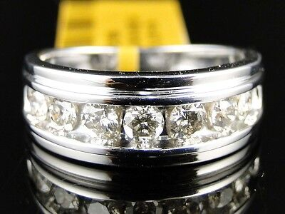 1 Ct Mens Real White Gold Genuine Diamond Channel Set Wedding Engagement Ring