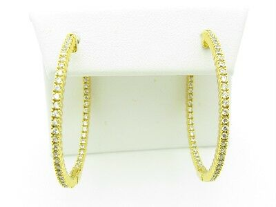 Sterling Silver Diamond Set White Sapphire Inside Out Design 1.5 Hoop Earrings