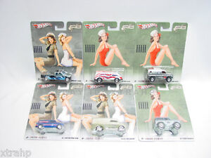 2012-Hot-Wheels-Nostalgia-Nose-Art-SET-of-6-NEW-JUST-RELEASED-Pin-Up