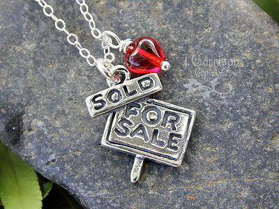 For Sale  Sold Necklace  Sterling Silver Real Estate House Sign Charm  Red Heart