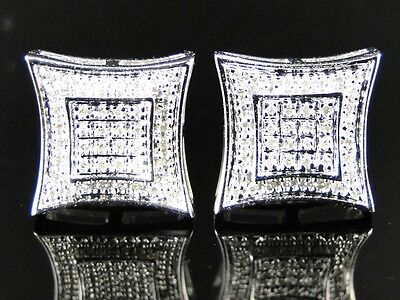 Mens/ladies White Gold Finish Diamond 10 Mm Dual Kite Studs Earrings on sale