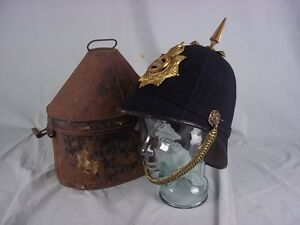 An-Edwardian-NCO-South-Staffordshire-Regiment-Blue-Cloth-Helmet-With-Tin