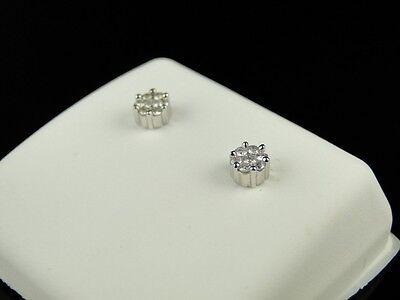 Mens Ladies White Gold 5 Mm Genuine Diamond Cluster Stud Earrings on sale