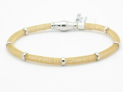 18kt Yellow Gold Sterling Silver Italian Soft Mesh Bangle Bracelet Magnetic Lock